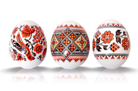 easter eggs on white