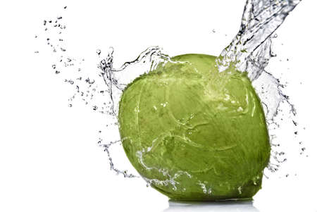 fresh water splash on coconut isolated on white Фото со стока