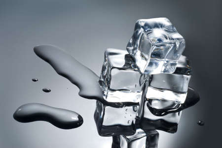 ice cubes with water drops photo