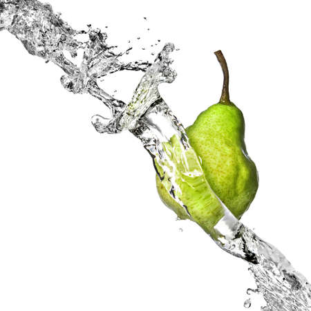 fresh water splash on green pear isolated on white photo