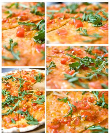impostato da 5 piena dimensione foto di classica pizza italiana