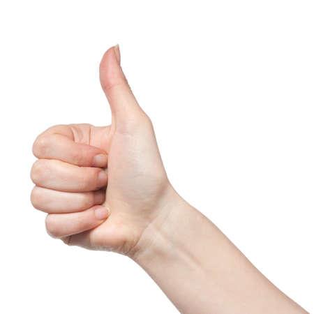 gesturing hand OK isolated on white photo