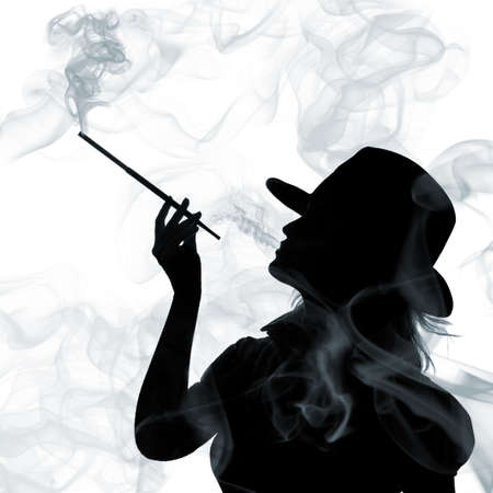 holders: silhouette of smoking woman isolated on a white background Stock Photo
