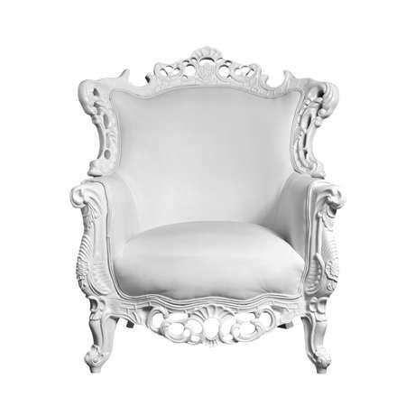 luxurious sofa: antique white leather chair isolated on white Stock Photo