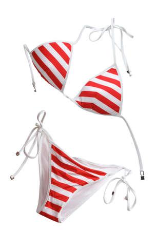 personas banandose: mujer Roja nadando traje aislado en blanco  Foto de archivo