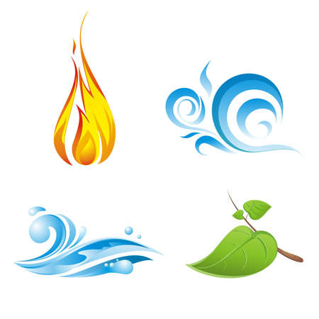 vent: Quatre vecteurs des �l�ments de la nature isol� sur fond blanc Banque d'images