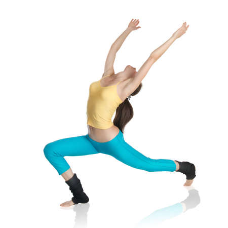 attractive woman doing gymnastics on white background Stock Photo - 7862918
