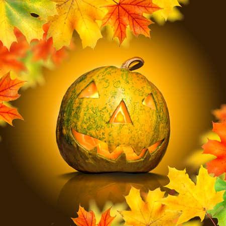 halloween pumpkin with leaves photo