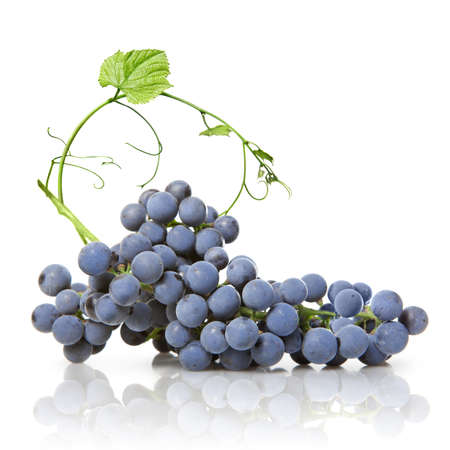 bunch of grapes: blue grape with green leaf isolated on white Stock Photo