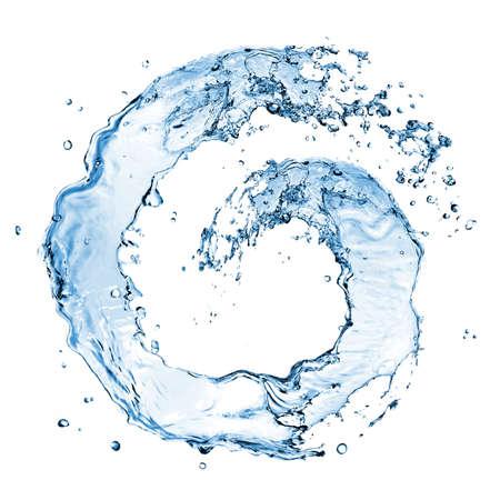 circular water ripple: round water splash isolated on white