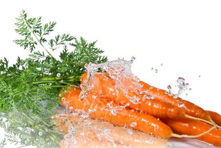 marchew: powitalny świeżej wody na marchew samodzielnie na biały