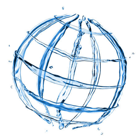 globus: abstract globe from water splashes isolated on white