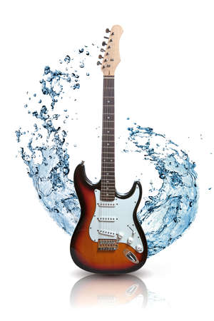 electric guitar with water splash isolated on white photo