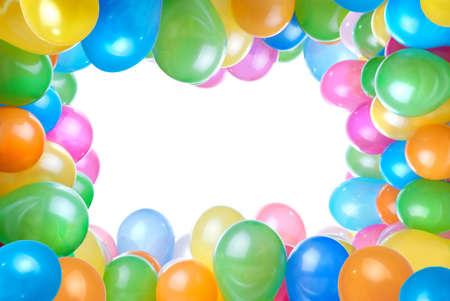 marco cumplea�os: marco de globos de colores aislados en blanco Foto de archivo