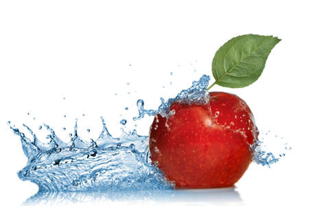 fruit drop: red apple with leaf and water splash isolated on white