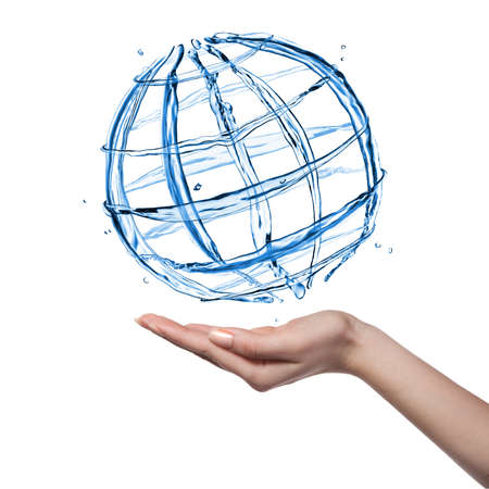 hand movements: Globe from water with human hand isolated on white Stock Photo