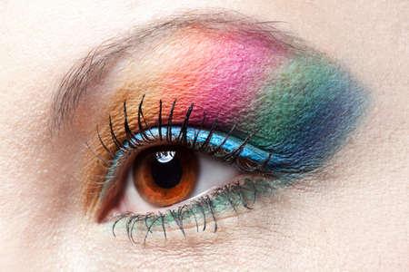 Colorfull rainbow make-up on woman eye