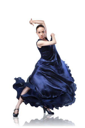 young woman dancing flamenco isolated on white photo