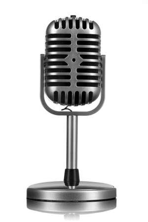 microfono antiguo: Micr�fono retro aislado en blanco
