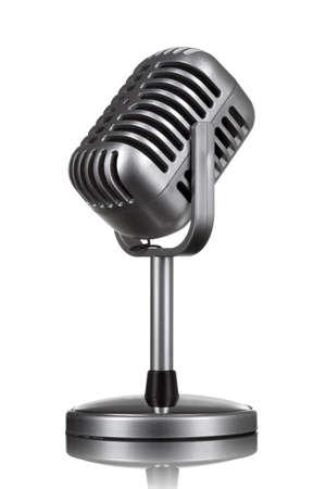 Retro microphone isolated on white photo