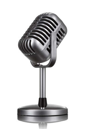 vocals: Retro microphone isolated on white Stock Photo