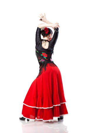 young woman dancing flamenco from back isolated on white Stock Photo - 9682321