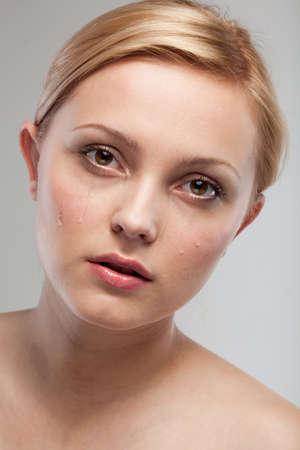 Portrait of sad crying woman  photo