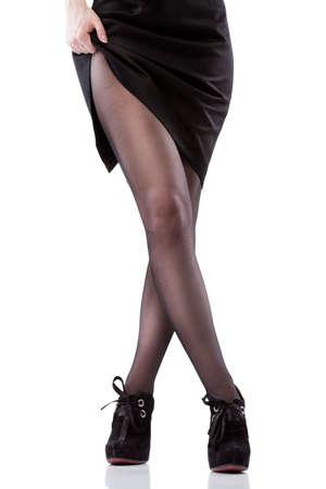 waxed legs: donna sexy gambe e scarpe isolate on white Archivio Fotografico