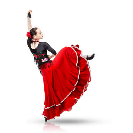 young woman dancing flamenco from back isolated on white photo