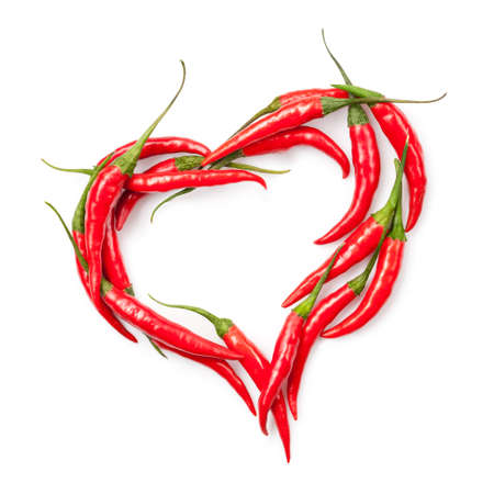heart of chili pepper isolated on white  Фото со стока