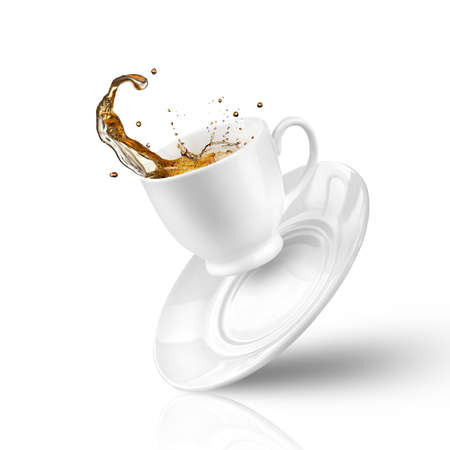 brown cup tea: Splash of tea in the falling cup isolated on white