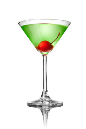 Green martini cocktail isolated on white photo
