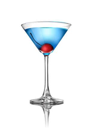 coctel de frutas: Coctel martini azul aislado en blanco Foto de archivo