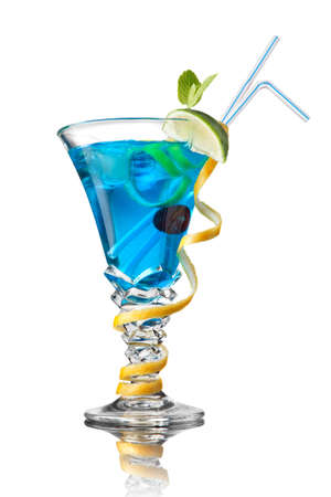 blue curacao cocktail isolated on white photo
