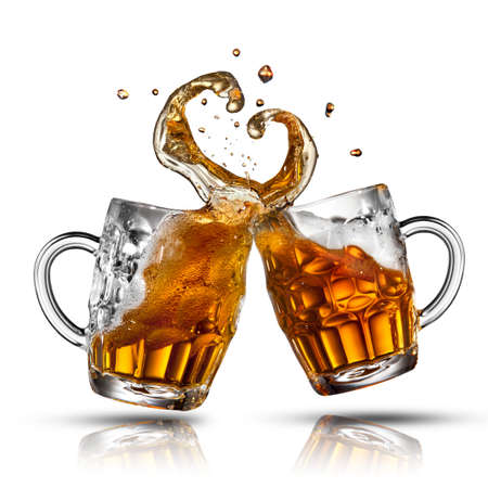 mug of ale: Beer splash in shape of heart isolated on white Stock Photo