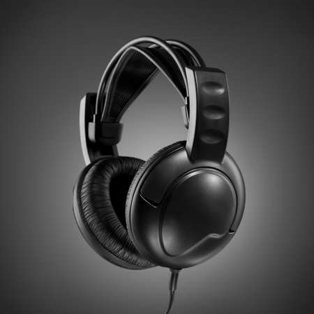 Headphones on grey background photo