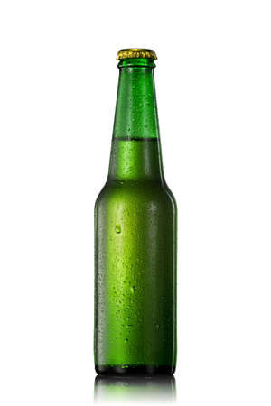 amber light: Beer bottle with water drops isolated on white
