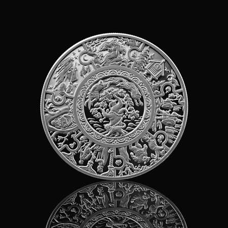russian tales silver coin isolated on black photo