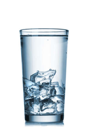soda water: water with ice in glass isolated on white