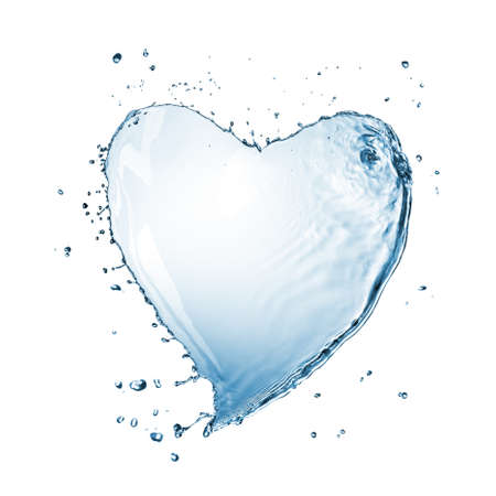Heart of water splash isolated on white photo