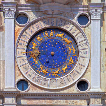 saint marco: Zodiac clock at San Marco square in Venice Stock Photo