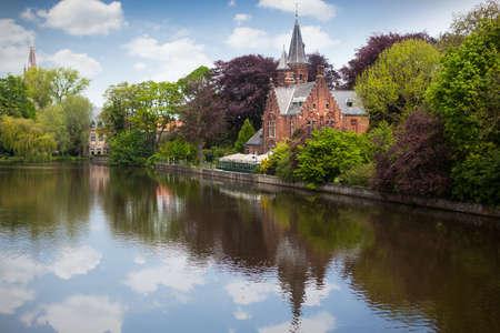 serenety: Spring landscape in Love lake - Bruges, Belgium Stock Photo