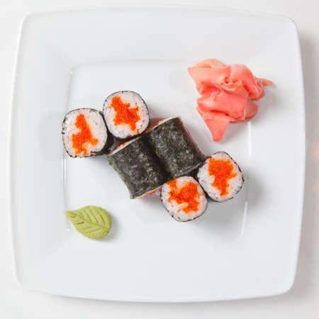maki: Maki Sushi on plate isolated on white