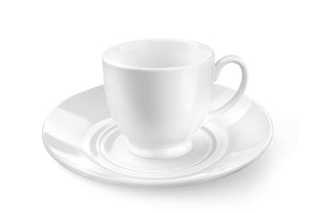 white tea or coffee cup with saucer isolated on white photo