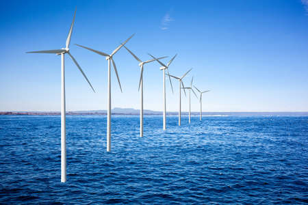 Wind generators turbines in the sea photo