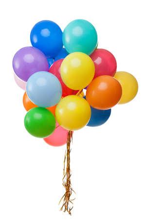 globos de cumpleaños: globos de colores aislados en blanco