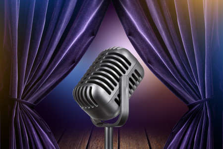 comedy show: stage with open curtains and microphone