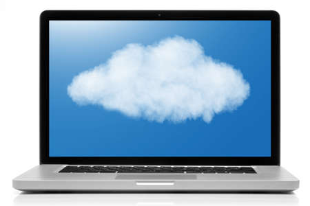 Cloud computing network concept. Notebook with cloud isolated on white photo