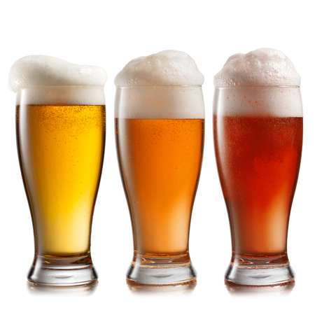 unbottled: Different beer in glasses isolated on white background Stock Photo