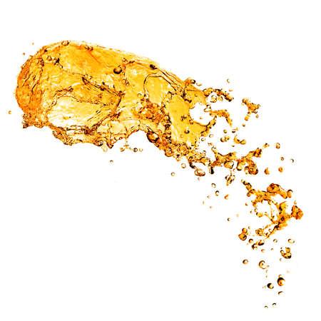 oil drops: orange water splash isolated on white